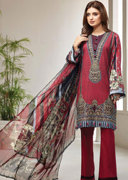 FRS09 Royal Scarlet - Unstitched Farasha Embroidered Lawn Suit 2020 - Memsaab Online