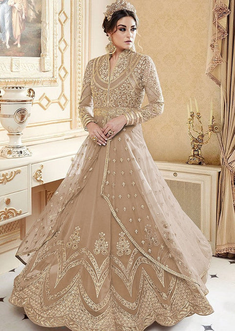 GG7272 Unstitched - Brown - Galaxy Glossy Amrose - Indian Designer Dress - Memsaab Online