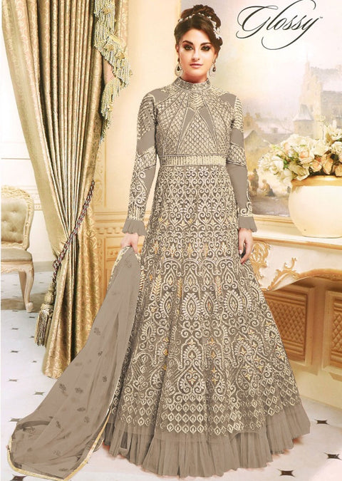 GG7274 Unstitched - Grey - Gahana Glossy Amrose Replica - Indian Designer Embroidered partywear gown - Memsaab Online