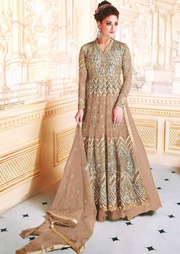 GG7278 Unstitched - Light Brown -Memsaab Ghazal Amrose - Indian Net Embroidered Dress - Replica - Memsaab Online