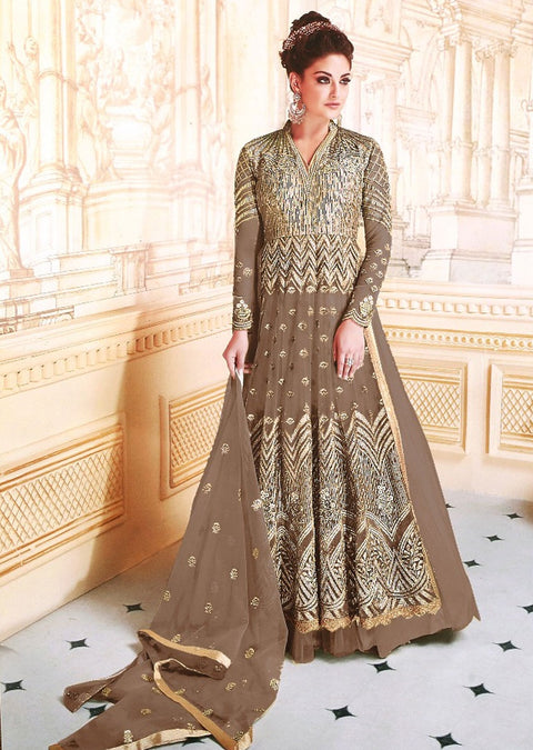 Unstitched - Brown -Memsaab Ghazal Amrose - Indian Net Embroidered Dress - Replica - Memsaab Online