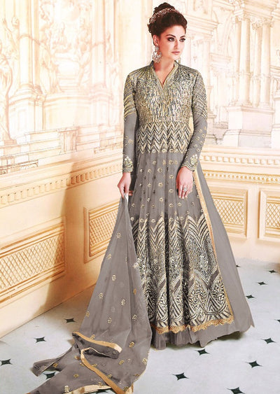 GG7278 Unstitched - Grey -Memsaab Ghazal Amrose - Indian Net Embroidered Dress - Replica - Memsaab Online