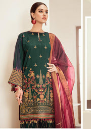 Blue Fantasy - Green Unstitched Baroque Embroidered Chiffon Suit - Memsaab Online