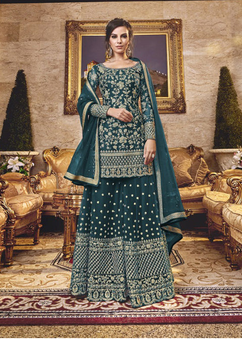 Unstitched - Teal Violet Inspired Fancy Partywear Suit - Memsaab Online