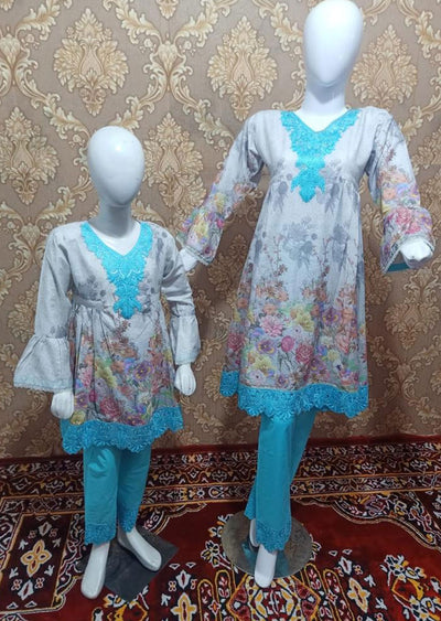 BLG5103 Grey Readymade Mother & Daughter Lawn Suit - Memsaab Online