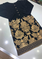HK07 Readymade Black Embroidered Linen Suit - Memsaab Online