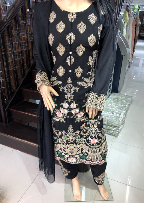 HK08 Readymade Black Embroidered Linen Suit - Memsaab Online