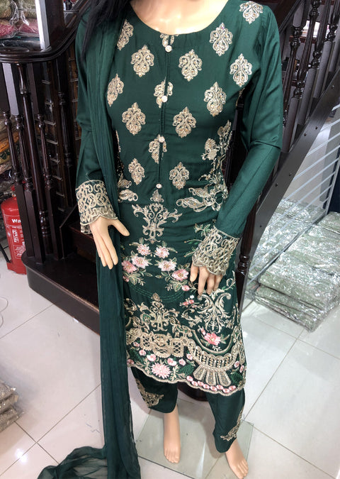 HK08 Readymade Bottle Green Embroidered Linen Suit - Memsaab Online