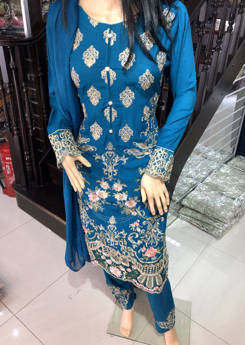 HK08 Readymade Teal Embroidered Linen Suit - Memsaab Online