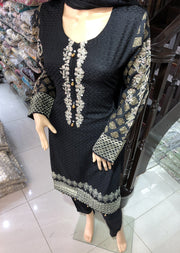 HK13 Readymade Black Embroidered Linen Suit - Memsaab Online