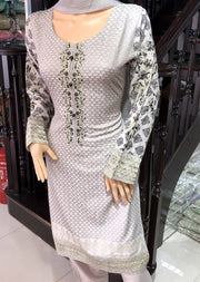 HK13 Readymade Grey Embroidered Linen Suit - Memsaab Online