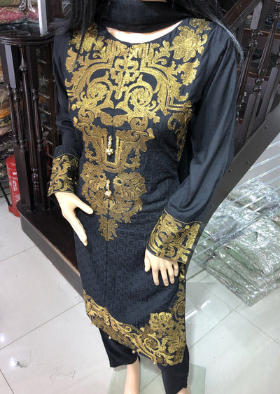 HK15 Readymade Black Embroidered Linen Suit - Memsaab Online