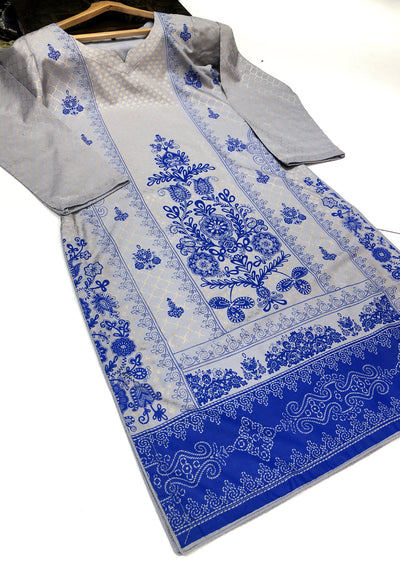 HK19 Readymade Grey Printed Summer Lawn Suit - Memsaab Online