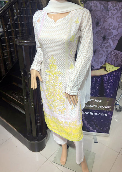HK19 Readymade White/Yellow Printed Summer Lawn Suit - Memsaab Online