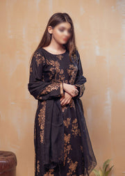 HK20 Readymade Black Printed Summer Lawn Suit - Memsaab Online
