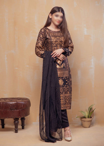 HK22 Readymade Black Printed Suit - Memsaab Online