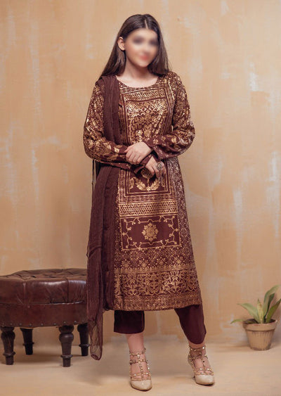 HK22 Readymade Brown Printed Suit - Memsaab Online