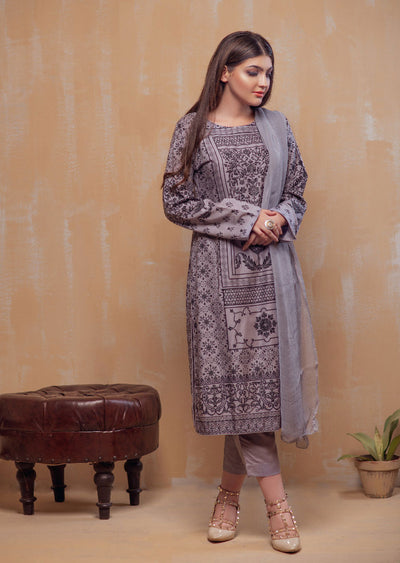 HK22 Readymade Grey Printed Suit - Memsaab Online