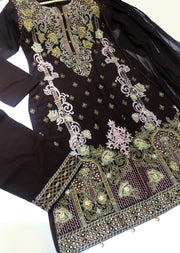 HK25 Readymade Brown Embroidered Linen Suit - Memsaab Online