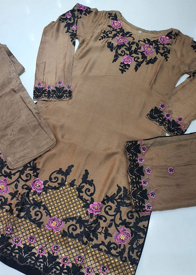 HK32 Brown Readymade Embroidered Chiffon Suit - Memsaab Online