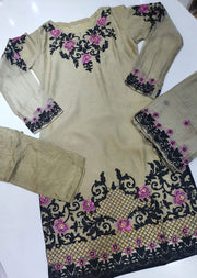 HK32 Beige/Green Readymade Embroidered Chiffon Suit - Memsaab Online