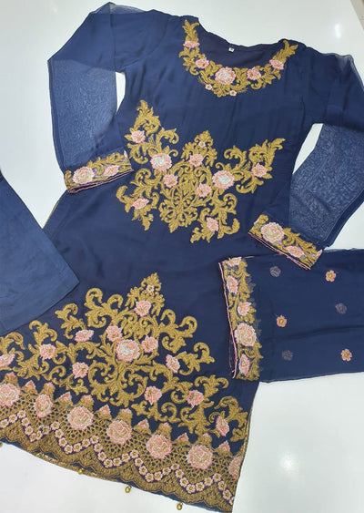 HK33 Blue Readymade Embroidered Chiffon Suit - Memsaab Online