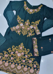 HK33 Green Readymade Embroidered Chiffon Suit - Memsaab Online