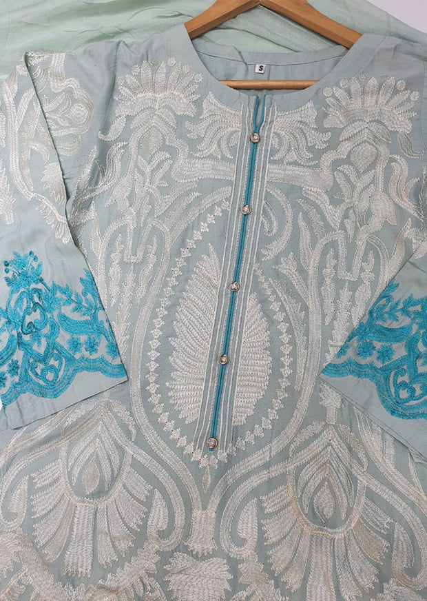 HK34 Mint Readymade Embroidered Linen Suit