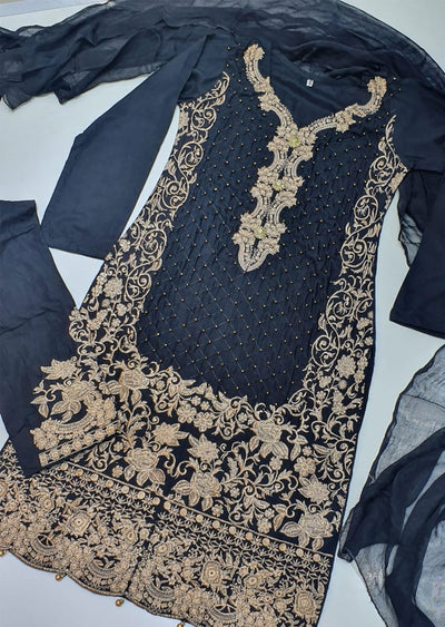 HK36 Black Linen Embroidered Suit