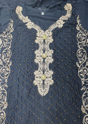 HK36 Black Linen Embroidered Suit - Memsaab Online
