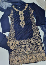 HK36 Blue Linen Embroidered Suit - Memsaab Online