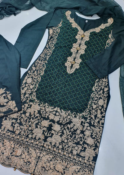 HK36 Green Linen Embroidered Suit