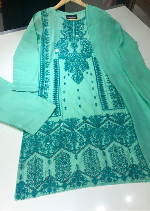 HK64 Zam Zam -Mint Emboirdered Cotton Suit - Memsaab Online