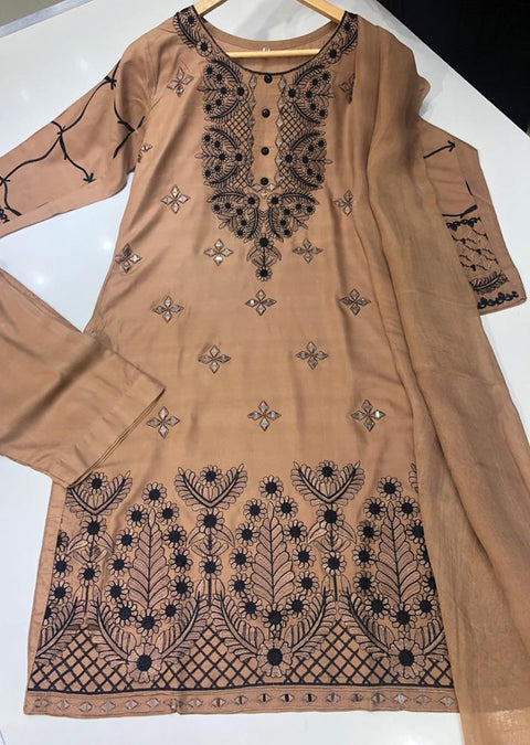 HK65 Fiza -Brown Emboirdered Linen Suit - Memsaab Online