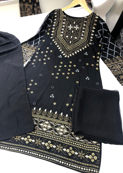 HK70 Treasure Readymade Black Lawn Suit - Memsaab Online