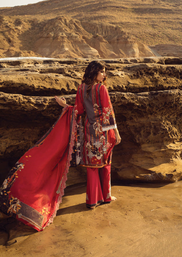 Red Unstitched Digital Printed Embroidered Lawn Suit - Iman by Regalia - Memsaab Online
