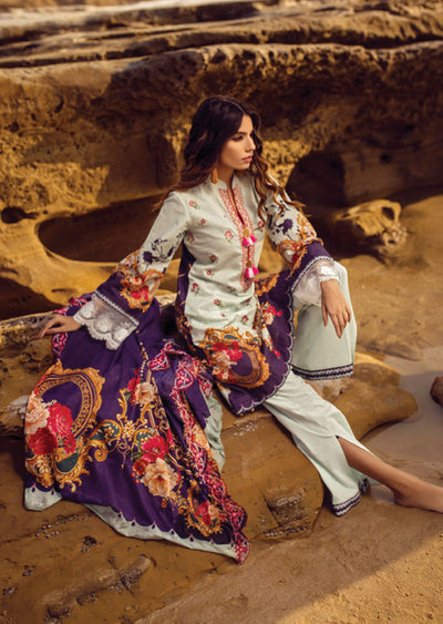 Mint Unstitched Digital Printed Embroidered Lawn Suit - Iman by Regalia - Memsaab Online