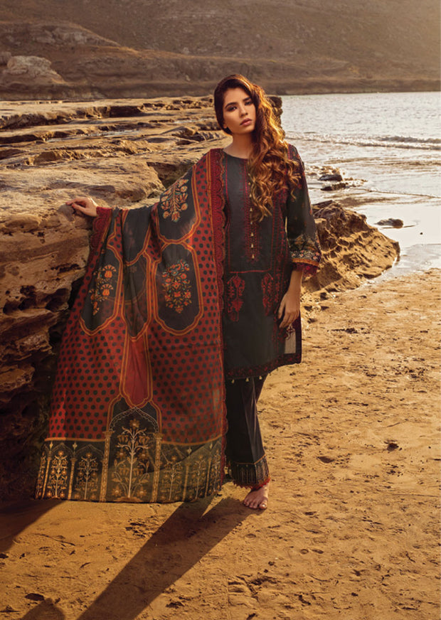 Aubergine Unstitched Digital Printed Embroidered Lawn Suit - Iman by Regalia - Memsaab Online