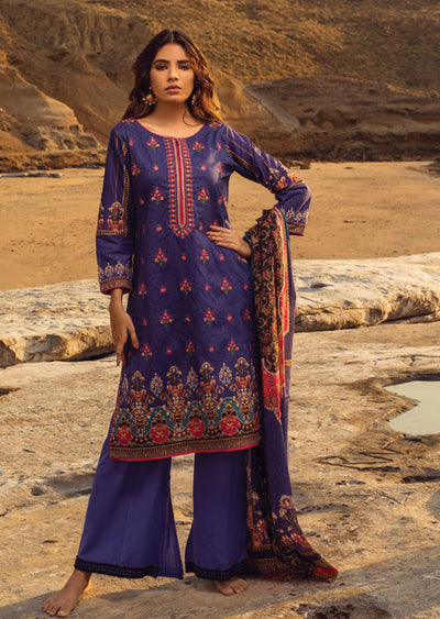 Purple Unstitched Digital Printed Embroidered Lawn Suit - Iman by Regalia - Memsaab Online