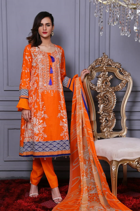 AMT1201 - Orange - Memsaab Festive Lawn Vol 2 - Pakistani Designer Embroidered Readymade Lawn Eid Collection - Memsaab Online