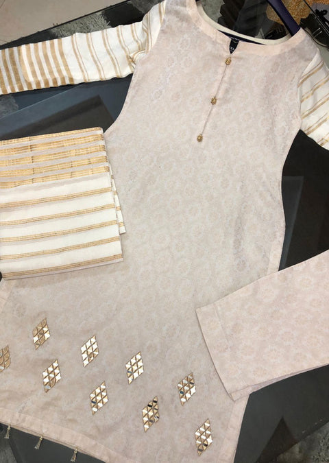 JCD91 Readymade Off White Mirror Suit by Sofia Shaan - Memsaab Online