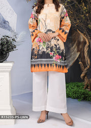 K15235 Sha Posh Peach Readymade Embroidered Summer Lawn Kurti - Memsaab Online