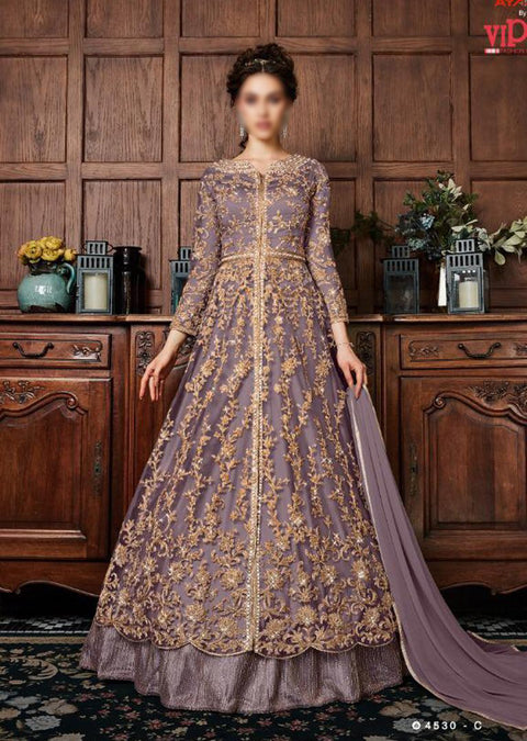 K-453 - Lilac - Vipul Inspired Anarkali Dress - Unstitched - Indian Bollywood Designer Dress - Memsaab Online