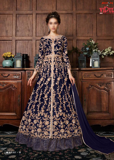K-453 - Navy - Vipul Inspired Anarkali Dress - Unstitched - Indian Bollywood Designer Dress - Memsaab Online