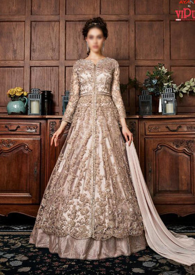 K-453 - Peach - Vipul Inspired Anarkali Dress - Unstitched - Indian Bollywood Designer Dress - Memsaab Online