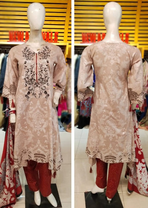 KD 035 - Allys Readymade Embroidered Winter Khaddar Suit with Wool Shawl - Memsaab Online