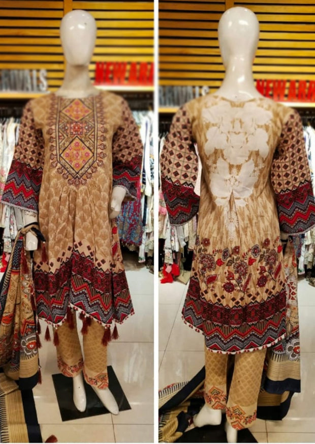Allys Readymade BEIGE Embroidered Winter Khaddar Suit with Wool Shawl - Memsaab Online