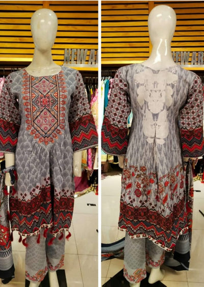 Allys Readymade GREY Embroidered Winter Khaddar Suit with Wool Shawl - Memsaab Online