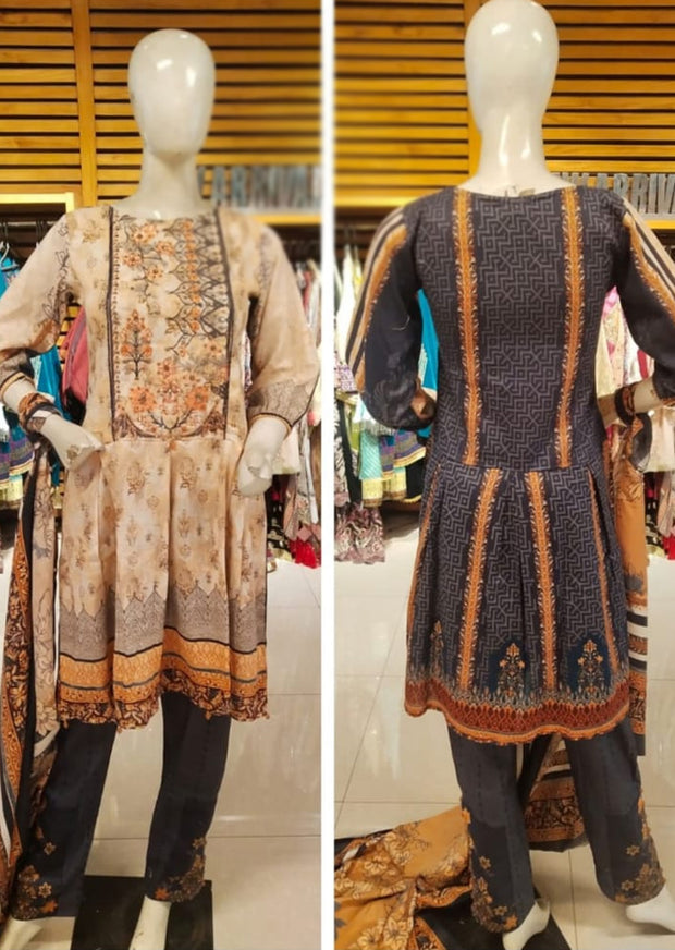 Allys Readymade Embroidered Winter Khaddar Suit with Wool Shawl - Memsaab Online