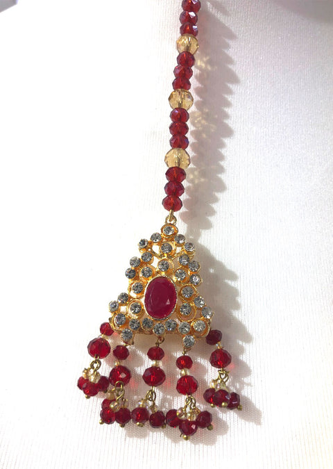Kohinoor - Gold plated Long necklace with red beads - Memsaab Online